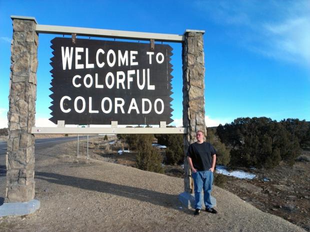 Billy at the border between  Utah and Colorado